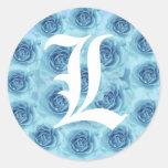 Letra L pegatina azul del monograma de los rosas