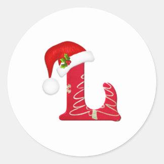 Letra L, pegatina del monograma del navidad del