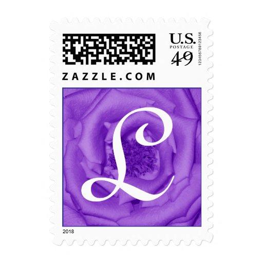 Letra L sello púrpura del monograma del rosa