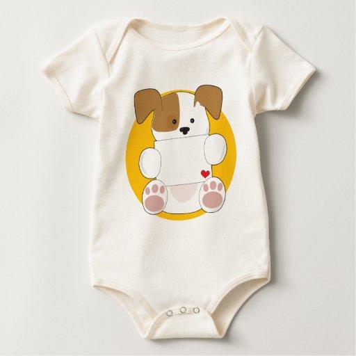 Letra linda del perrito trajes de bebé