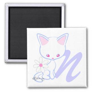 Letra linda N del alfabeto del gato azul Imán De Nevera