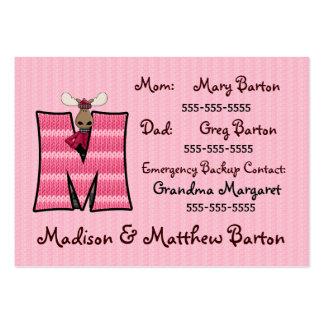 Letra M de tarjetas de información de la emergenci Plantillas De Tarjetas Personales