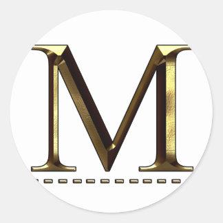 Letra M del oro del monograma su pegatina