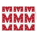 Letra M - Estrellas del blanco en rojo oscuro Felicitación