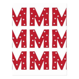 Letra M - Estrellas del blanco en rojo oscuro Tarjeta Postal