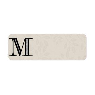 Letra M - negro del damasco Etiquetas De Remite
