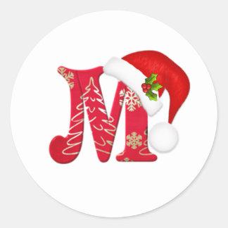 Letra M, pegatina del monograma del navidad del