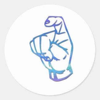 Letra manual americana X del ASL Alpahbet Pegatina Redonda