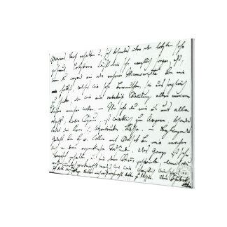 Letra manuscrita de Franz Schubert Lienzo Envuelto Para Galerias
