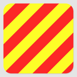 Letra marina náutica Y (yanqui) de bandera de Pegatina Cuadrada