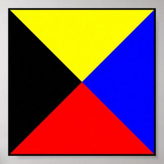 Letra marítima internacional de la bandera de poster