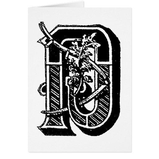 Letra masónica D de los símbolos de la caligrafía Tarjeta De Felicitación