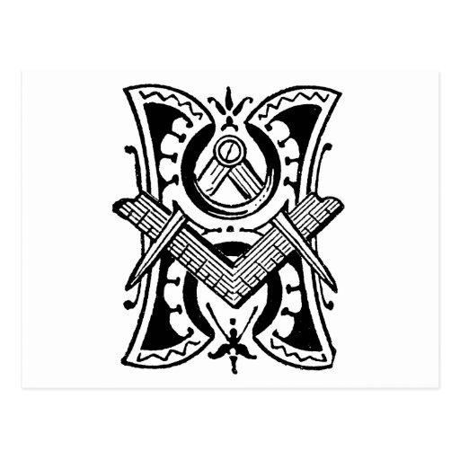 Letra masónica H del símbolo de la caligrafía Postal