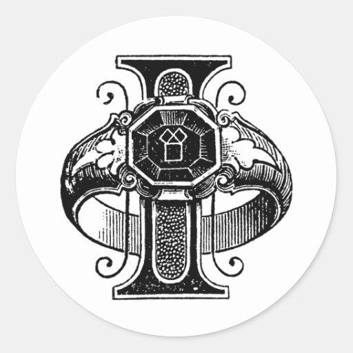 Letra masónica I de los símbolos de la caligrafía Etiquetas Redondas