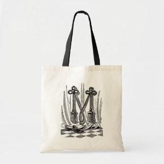 Letra masónica M de los símbolos de la caligrafía  Bolsa De Mano