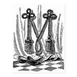 Letra masónica M de los símbolos de la caligrafía  Postal