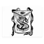Letra masónica S de los símbolos de la caligrafía Postal