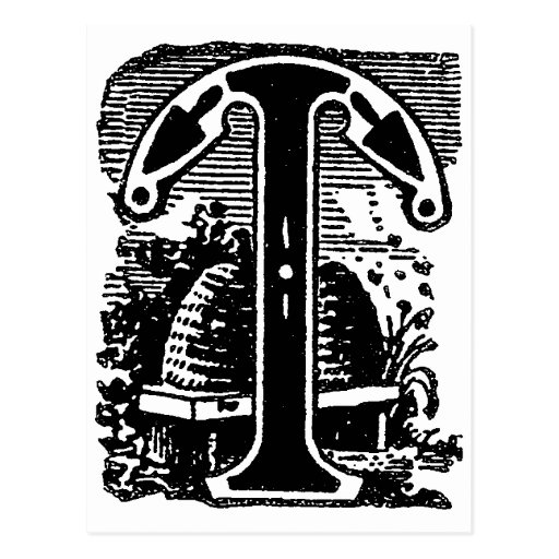 Letra masónica T de los símbolos de la caligrafía Postales