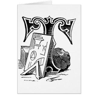 Letra masónica T de los símbolos de la caligrafía  Felicitacion