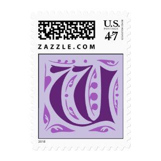 Letra medieval antigua elegante W Sellos Postales
