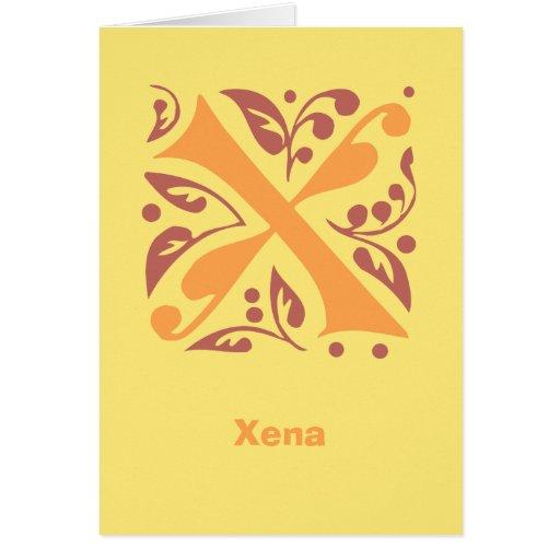Letra medieval antigua elegante X Tarjeta Pequeña