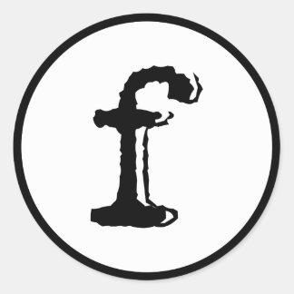 letra minúscula f pegatina redonda