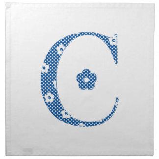 Letra modelada C de la flor (azul y puntos) Servilleta De Papel