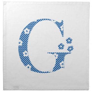 letra modelada G de la flor (azul y puntos) Servilletas De Papel