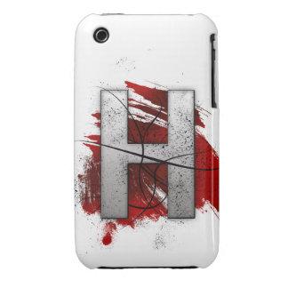 Letra mortal H del monograma del diseño Funda Para iPhone 3 De Case-Mate