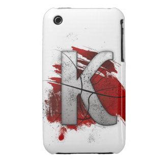 Letra mortal K del monograma del diseño Funda Para iPhone 3