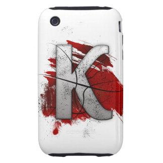 Letra mortal K del monograma del diseño Funda Though Para iPhone 3