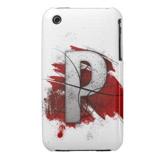 Letra mortal P del monograma del diseño Carcasa Para iPhone 3
