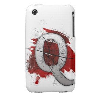 Letra mortal Q del monograma del diseño Funda Para iPhone 3 De Case-Mate