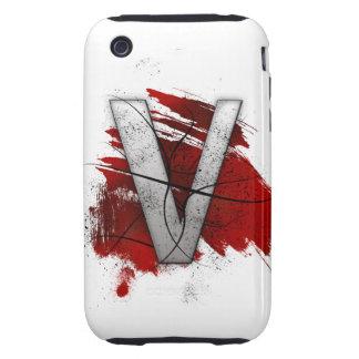 Letra mortal V del monograma del diseño Carcasa Though Para iPhone 3