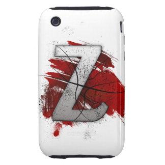 Letra mortal Z del monograma del diseño Funda Resistente Para iPhone 3