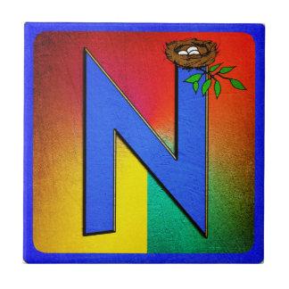 Letra N del alfabeto Azulejo Cuadrado Pequeño