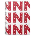 Letra N - Estrellas del blanco en rojo oscuro Cuadernos
