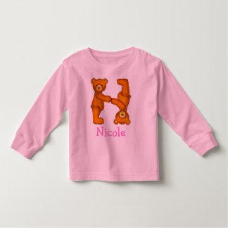 Letra N Initial~Custom Name~Shirt del alfabeto del Polera