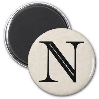 Letra N - negro del damasco Imán De Frigorífico