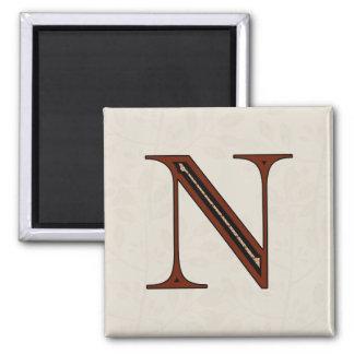 Letra N - rojo del damasco Imanes De Nevera