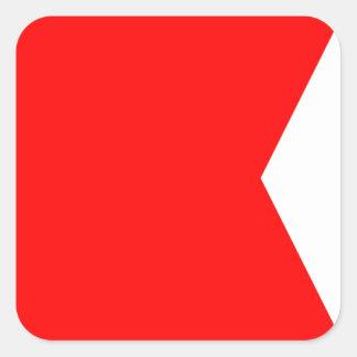 Letra náutica B (bravo) de la señal de la bandera Pegatina Cuadrada