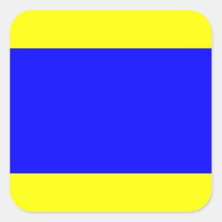Letra náutica D (delta) de la señal de la bandera Pegatina Cuadrada