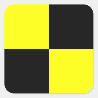 Letra náutica L (Lima) de la señal de la bandera Pegatina Cuadrada