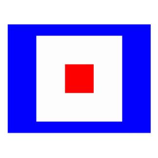 Letra náutica W de la señal de la bandera del Tarjeta Postal