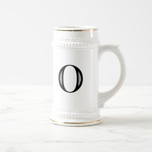 Letra O - negro del damasco Taza De Café