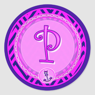 """Letra """"P"""" Chevron náutico rosado con el ancla - Pegatina Redonda"""