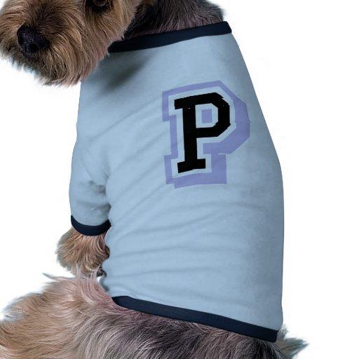 letra P de la lavanda Camiseta De Mascota