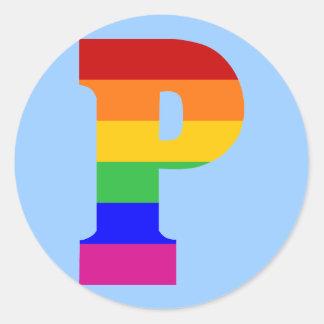 Letra P del arco iris Pegatina Redonda