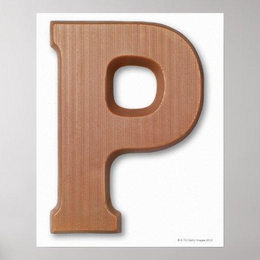 Letra p del chocolate impresiones