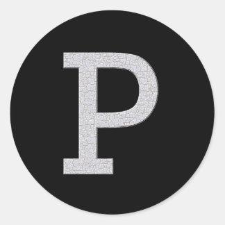 Letra P del monograma Pegatina Redonda